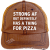 Has a Thing for Pizza Distressed Trucker Cap Apparel CustomCat 6990 Distressed Unstructured Trucker Cap Orange/Navy One Size