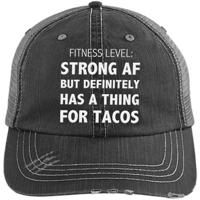 Has a Thing for Tacos Distressed Trucker Cap Apparel CustomCat 6990 Distressed Unstructured Trucker Cap Black/Grey One Size