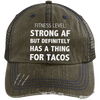 Has a Thing for Tacos Distressed Trucker Cap Apparel CustomCat 6990 Distressed Unstructured Trucker Cap Brown/Navy One Size