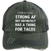Has a Thing for Tacos Distressed Trucker Cap Apparel CustomCat 6990 Distressed Unstructured Trucker Cap Dark Green/Navy One Size