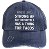 Has a Thing for Tacos Distressed Trucker Cap Apparel CustomCat 6990 Distressed Unstructured Trucker Cap Navy/Navy One Size