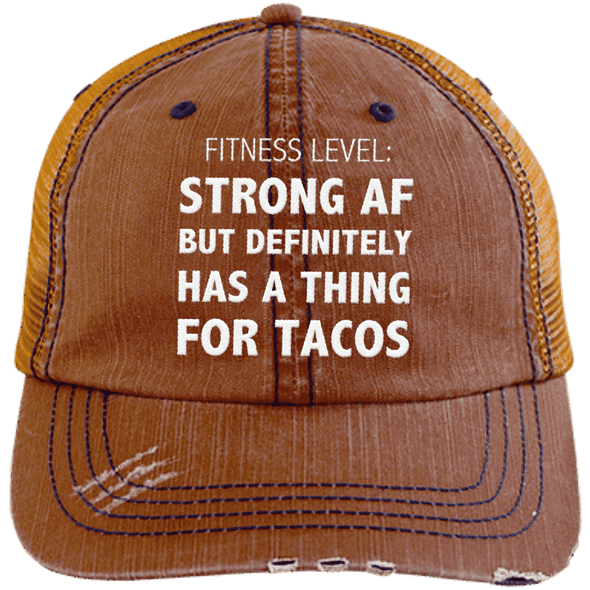 Has a Thing for Tacos Distressed Trucker Cap Apparel CustomCat 6990 Distressed Unstructured Trucker Cap Orange/Navy One Size