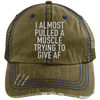 I Almost Pulled a Muscle Trying to Give AF Trucker Cap Apparel CustomCat 6990 Distressed Unstructured Trucker Cap Brown/Navy One Size