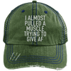 I Almost Pulled a Muscle Trying to Give AF Trucker Cap Apparel CustomCat 6990 Distressed Unstructured Trucker Cap Dark Green/Navy One Size