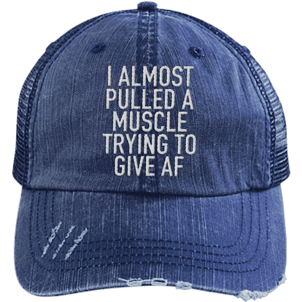 I Almost Pulled a Muscle Trying to Give AF Trucker Cap Apparel CustomCat 6990 Distressed Unstructured Trucker Cap Navy/Navy One Size