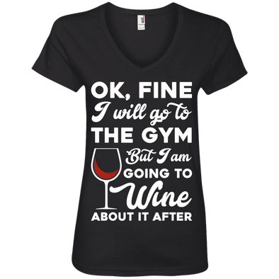 I am going to Wine about if after (Tees) Apparel CustomCat 88VL Anvil Ladies' V-Neck T-Shirt Black Small