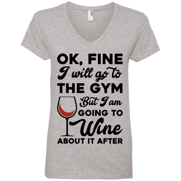 I am going to Wine about if after (Tees) Apparel CustomCat 88VL Anvil Ladies' V-Neck T-Shirt Heather Grey Small