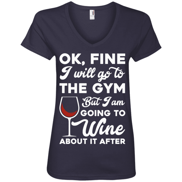 I am going to Wine about if after (Tees) Apparel CustomCat 88VL Anvil Ladies' V-Neck T-Shirt Navy Small