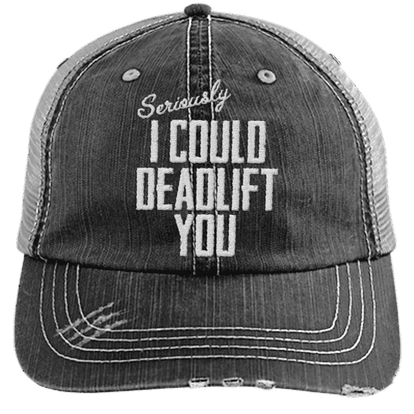 I Could Deadlift You Hats CustomCat Black/Grey One Size