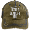 I Could Deadlift You Hats CustomCat Brown/Navy One Size