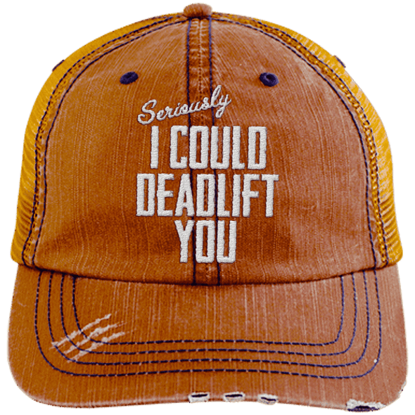 I Could Deadlift You Hats CustomCat Orange/Navy One Size