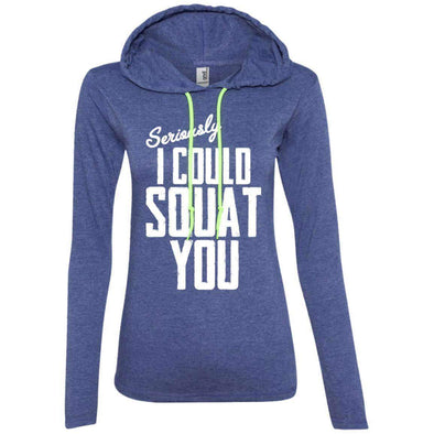 I Could Squat You T-Shirts CustomCat Heather Blue/Neon Yellow S