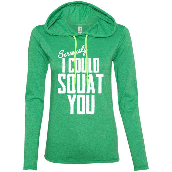 I Could Squat You T-Shirts CustomCat Heather Green/Neon Yellow S
