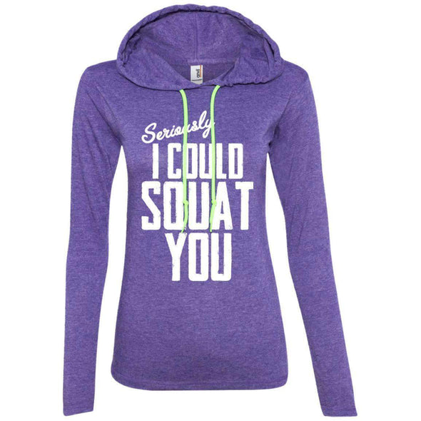 I Could Squat You T-Shirts CustomCat Heather Purple/Neon Yellow S