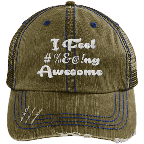I feel #%@ Awesome Hats CustomCat Brown/Navy One Size