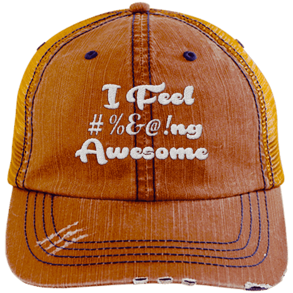 I feel #%@ Awesome Hats CustomCat Orange/Navy One Size