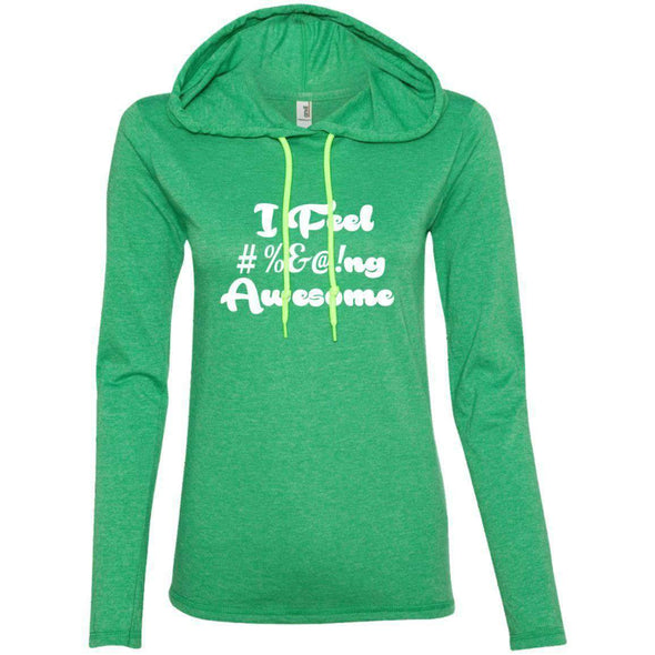 I feel #%@ Awesome T-Shirts CustomCat Heather Green/Neon Yellow Small