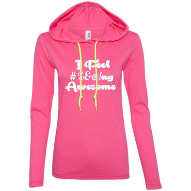 I feel #%@ Awesome T-Shirts CustomCat Hot Pink/Neon Yellow Small