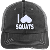 I Heart Squats Distressed Trucker Cap Apparel CustomCat 6990 Distressed Unstructured Trucker Cap Black/Grey One Size