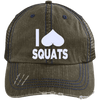 I Heart Squats Distressed Trucker Cap Apparel CustomCat 6990 Distressed Unstructured Trucker Cap Brown/Navy One Size