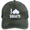 I Heart Squats Distressed Trucker Cap Apparel CustomCat 6990 Distressed Unstructured Trucker Cap Dark Green/Navy One Size