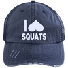I Heart Squats Distressed Trucker Cap Apparel CustomCat 6990 Distressed Unstructured Trucker Cap Navy/Navy One Size