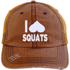 I Heart Squats Distressed Trucker Cap Apparel CustomCat 6990 Distressed Unstructured Trucker Cap Orange/Navy One Size