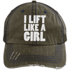 I Lift Like a Girl Trucker Cap Apparel CustomCat 6990 Distressed Unstructured Trucker Cap Brown/Navy One Size