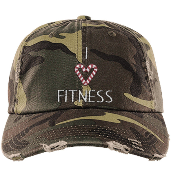 I Love Fitness Candy Canes Cap Apparel CustomCat Distressed Dad Cap Military Camo One Size