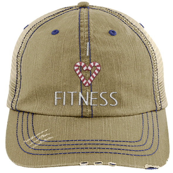 I Love Fitness Candy Canes Cap Apparel CustomCat Distressed Trucker Cap Khaki/Navy One Size