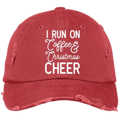 I Run On Coffee and Christmas Cheer Caps Apparel CustomCat DT600 District Distressed Dad Cap Dashing Red One Size