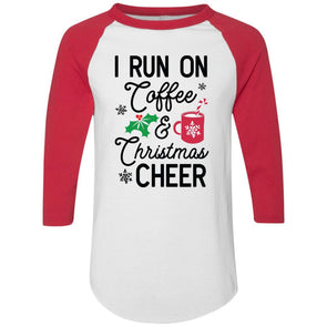 I Run on Coffee and Christmas Cheer Raglan Jersey Apparel CustomCat Raglan Jersey White/Red S