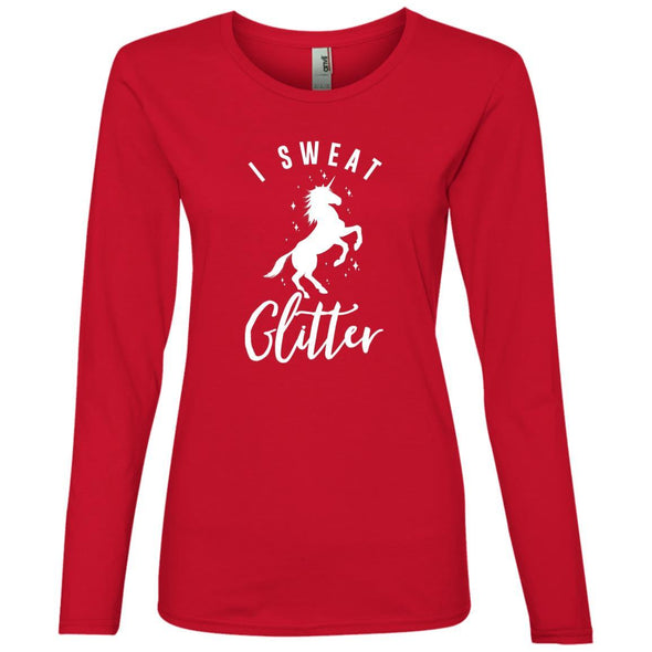 I Sweat Glitter Long Sleeve T-Shirt T-Shirts CustomCat Red S