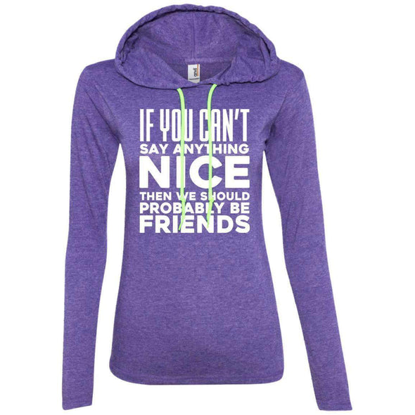 If you can't say anything nice T-Shirts CustomCat Heather Purple/Neon Yellow Small