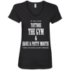 If You Love Tattoos, the Gym and Have a Potty Mouth Tees Apparel CustomCat 88VL Anvil Ladies' V-Neck T-Shirt Black Small