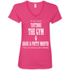If You Love Tattoos, the Gym and Have a Potty Mouth Tees Apparel CustomCat 88VL Anvil Ladies' V-Neck T-Shirt Hot Pink Small