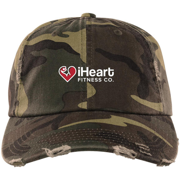 iHeart Fitness Cap Apparel CustomCat Distressed Dad Cap Military Camo One Size