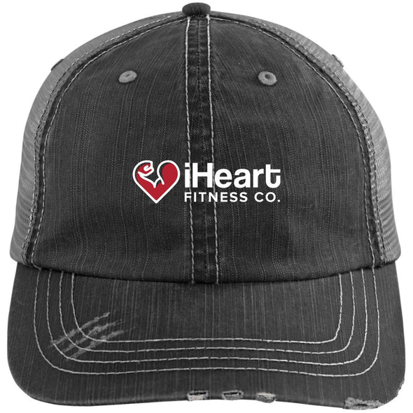 iHeart Fitness Cap Apparel CustomCat Distressed Trucker Cap Black/Grey One Size
