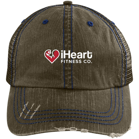 iHeart Fitness Cap Apparel CustomCat Distressed Trucker Cap Brown/Navy One Size