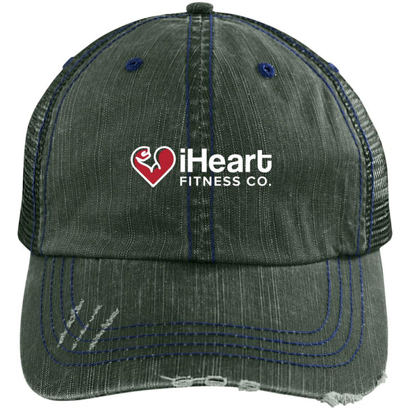 iHeart Fitness Cap Apparel CustomCat Distressed Trucker Cap Dark Green/Navy One Size