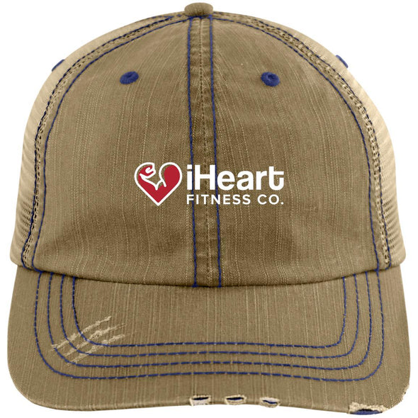 iHeart Fitness Cap Apparel CustomCat Distressed Trucker Cap Khaki/Navy One Size