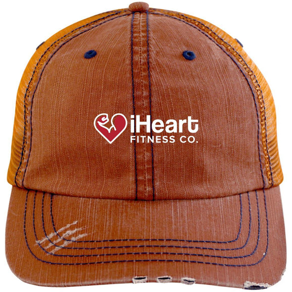 iHeart Fitness Cap Apparel CustomCat Distressed Trucker Cap Orange/Navy One Size