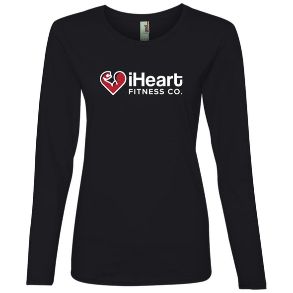 iHeart Fitness Long Sleeve T-Shirt T-Shirts CustomCat Black S