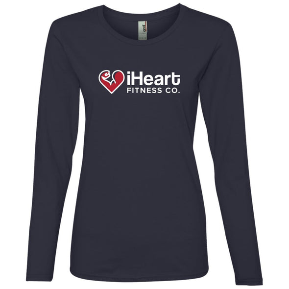 iHeart Fitness Long Sleeve T-Shirt T-Shirts CustomCat Navy S