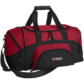 iHeart Fitness Small Colorblock Duffel Bag Bags CustomCat Black/True Red One Size