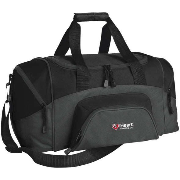 iHeart Fitness Small Colorblock Duffel Bag Bags CustomCat Dark Charcoal/Black One Size