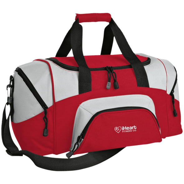 iHeart Fitness Small Colorblock Duffel Bag Bags CustomCat Red/Gray One Size