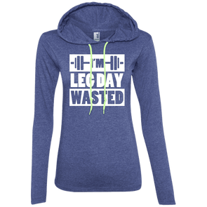 I'm Leg Day Wasted Hoodies Apparel CustomCat 887L Anvil Ladies' LS T-Shirt Hoodie Heather Blue/Neon Yellow Small