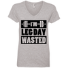 I'm Leg Day Wasted Tees Apparel CustomCat 88VL Anvil Ladies' V-Neck T-Shirt Heather Grey Small