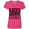 I'm Leg Day Wasted Tees Apparel CustomCat 88VL Anvil Ladies' V-Neck T-Shirt Hot Pink Small